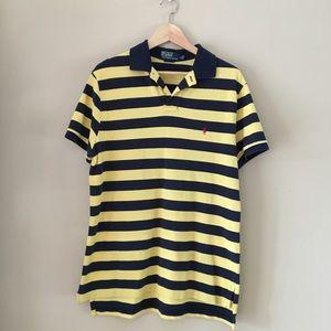 Yellow & Navy Blue Short Sleeved Polo Shirt RL